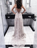 A-Line Spaghetti Straps Backless Long Light Grey Prom Dress with Appliques - ericprom
