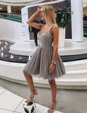 Cute A Line Straps Short Gray Tulle Homecoming Dress with Appliques - ericprom