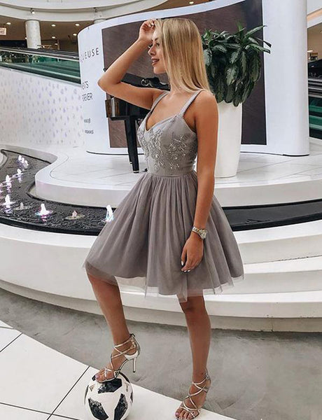 Cute A Line Straps Short Gray Tulle Homecoming Dress with Appliques