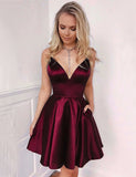 A Line Burgundy Short Dress with Pockets