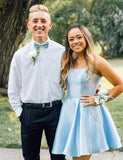 A Line Light Blue Short Homecoming Dress with Pockets