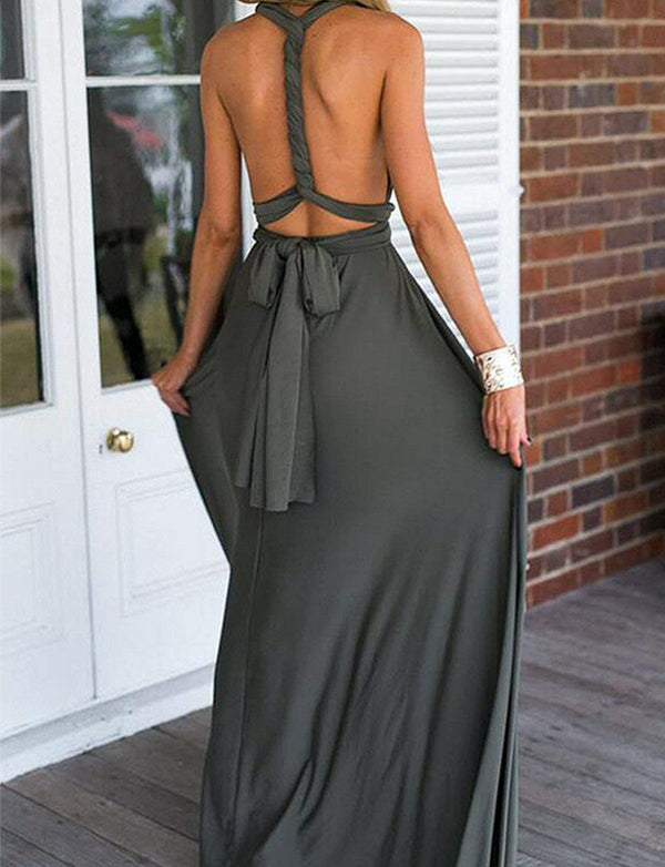 Modest A Line Convertible V Neck Sleeveless Long Grey Backless Prom Dress
