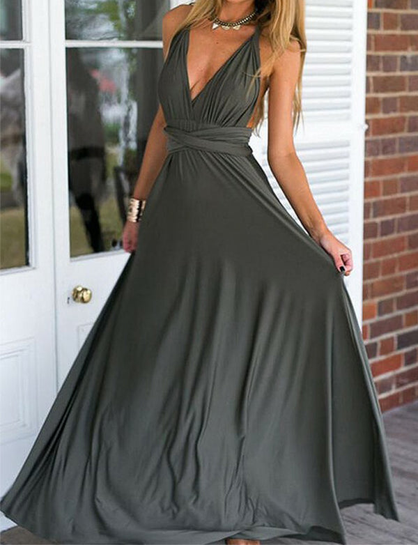 Modest A Line Convertible V Neck Sleeveless Long Grey Backless Prom Dress - ericprom