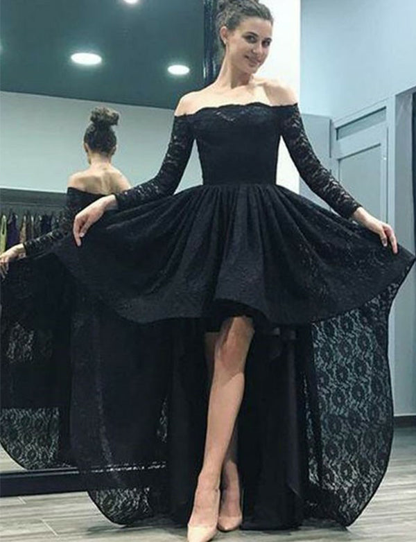 Popular Off-the-Shoulder High Low Black Prom Dress Lace Homecoming Dress