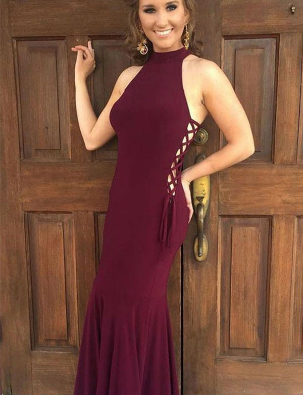 Beautiful Mermaid High Neck Floor Length Sleeveless Burgundy Prom Dress - ericprom