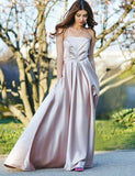 Affordable Spaghetti Straps Champagne Sleeveless Long Prom Dress with Pockets - ericprom
