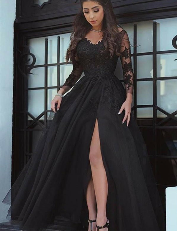 V-Neck Long Sleeves Black Prom Dress with Long Sleeves - ericprom