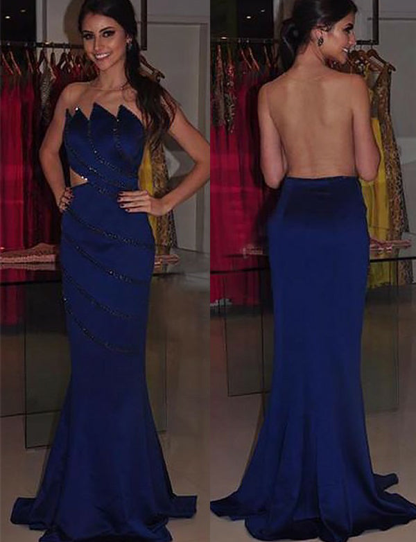 Amazing Mermaid Illusion Back Long Evening Dress Royal Blue Prom Dress - ericprom