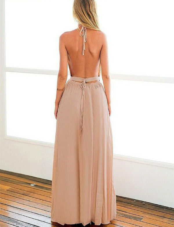 Modest Halter Backless Sleeveless Long Chiffon Champagne Prom Dress with Split - ericprom