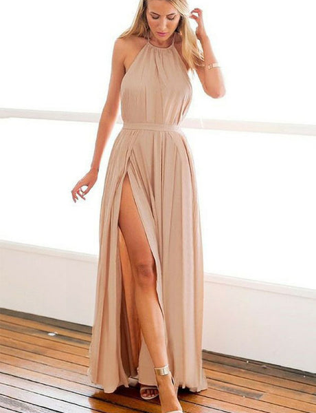 Modest Halter Backless Sleeveless Long Chiffon Champagne Prom Dress with Split