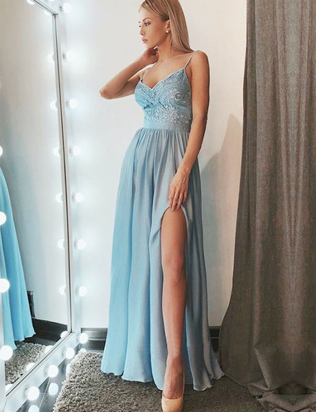 Popular Spaghetti StrapsLong Chiffon Light Blue Prom Dress with Appliques Split