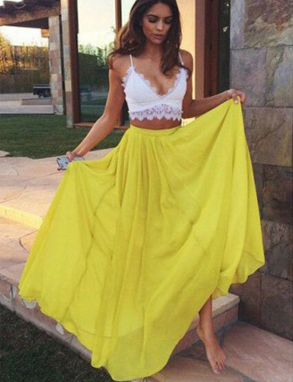 Two Piece Spaghetti Straps Chiffon Sleeveless Long Yellow Prom Dress with Lace - ericprom