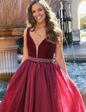 V-Neck Burgundy Prom Dress with Beading Evening Gown - ericprom