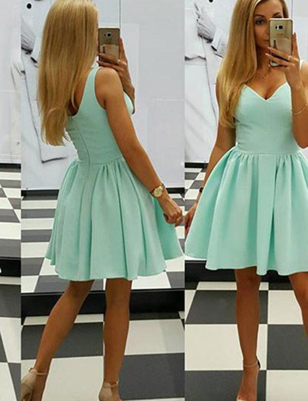 Simple V-Neck Mint Homecoming Dress Satin Sleeveless Short Cocktail Dress - ericprom