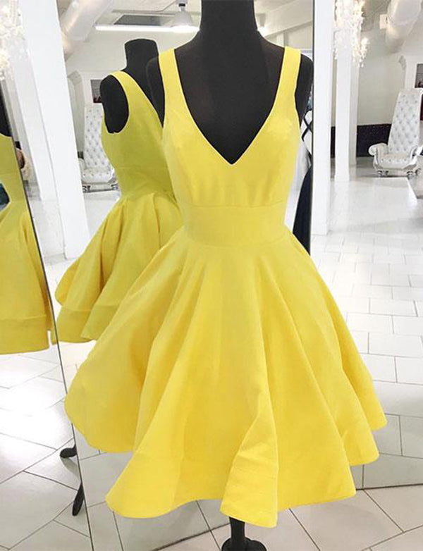 Simple Deep V Neck Sleeveless Cocktail Dress Satin Short Yellow Homecoming Dress - ericprom