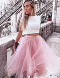 Pretty Two Piece Prom Dress Bateau Tulle Pink Homecoming Dress with Lace - ericprom