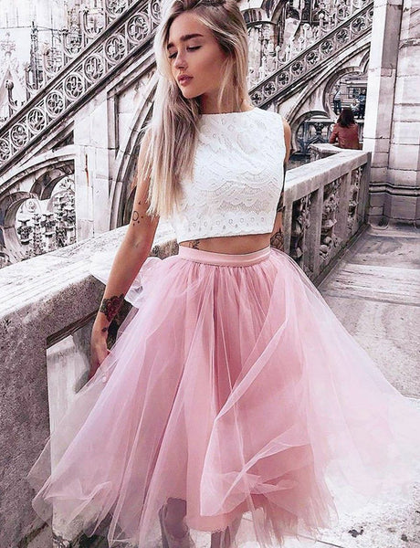 Pretty Two Piece Prom Dress Bateau Tulle Pink Homecoming Dress with Lace