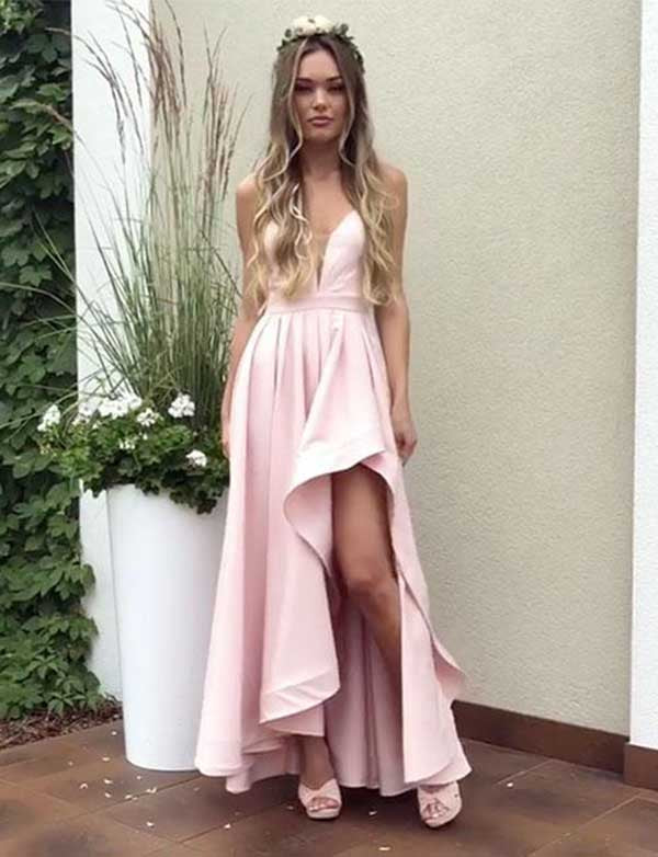 Spaghetti Straps Backless Homecoming Dress Asymmetrical Pink Satin Prom Dress - ericprom
