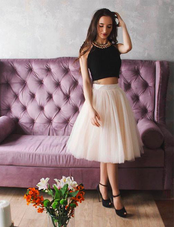 Two Piece A-Line Round Neck Sleeveless Tea-Length Tulle Homecoming Dress - ericprom