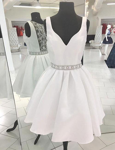 A Line Sleeveless Short White Homecoming Dress with Beading Cocktail Dress