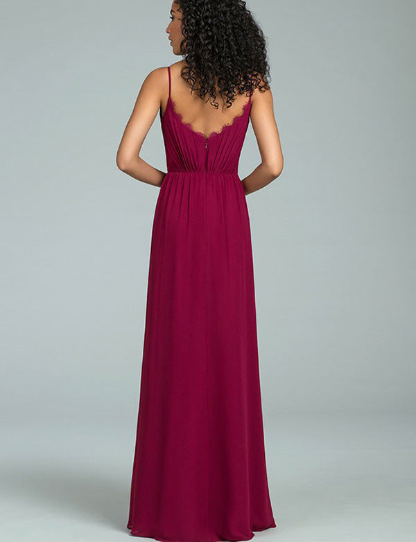 Mismatched Spaghetti Straps Long Perfect Burgundy Bridesmaid Dress with Lace - ericprom