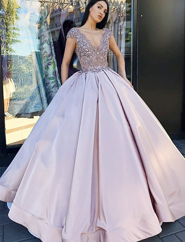 A-Line Vneck Cap Sleeves Floor Length Lilac Prom Dress with Appliques - ericprom
