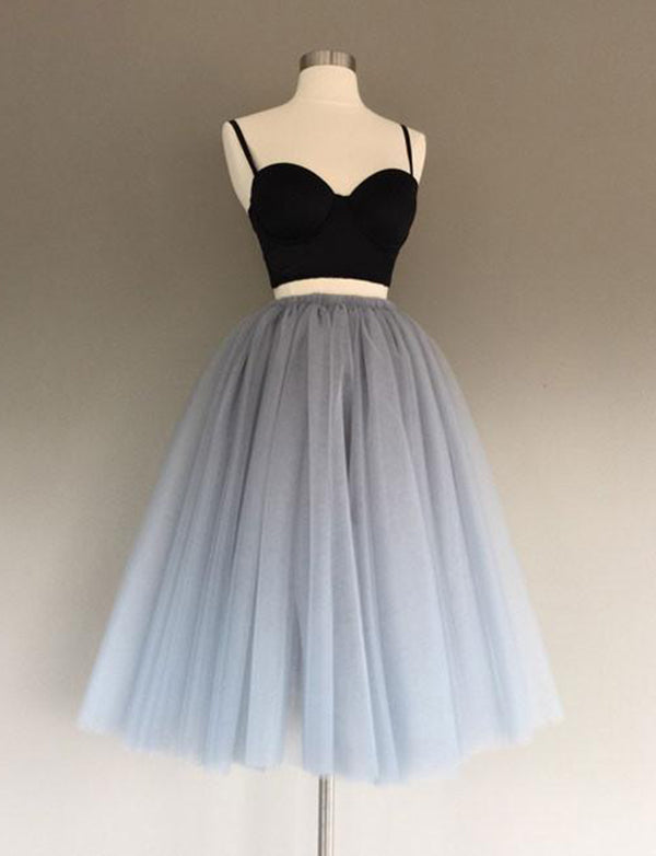 Two Piece A-Line Spaghetti Straps Tea-Length Tulle Homecoming Dress - ericprom