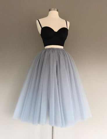 Two Piece A-Line Spaghetti Straps Tea-Length Tulle Homecoming Dress