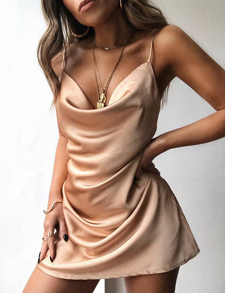 Sexy Mini Champagne Cocktail Dress Satin Spaghetti Straps Short Homecoming Dress