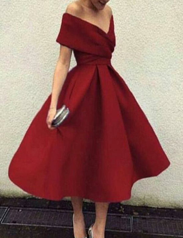 Vintage Tea Length  Off the Shoulder Homecoming Dress Satin Burgundy Prom  Dress - ericprom