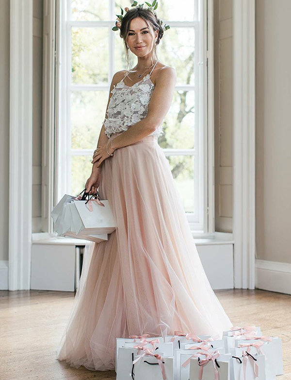 Beautiful A Line Halter Long Tulle Sleeveless Pink Bridesmaid Dress with Appliques - ericprom