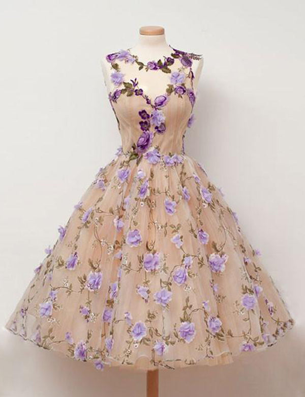 A Line Jewel Sleeveless Champagne Tulle Homecoming Dress with Flowers - ericprom