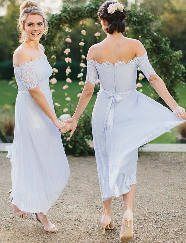 Chiffon Off-the-Shoulder Short Sleeves Ligh Blue Bridesmaid Dress with Lace Pleats - ericprom