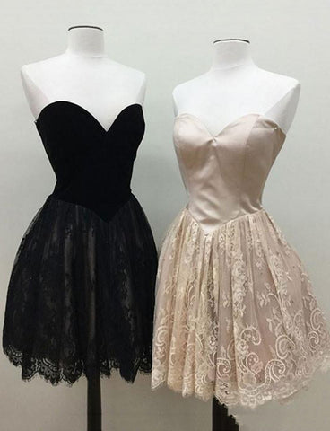 Sweetheart Champagne Homecoming Dress with Lace Short Black Cocktail Dress