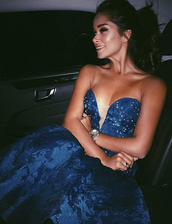 Short Navy Blue Homecoming Dress  with Beading Lace Sweetheart Cocktail Dress - ericprom