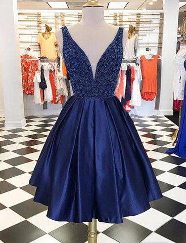 Stunning Deep V-Neck Navy Blue Short Homecoming Dress with Beading