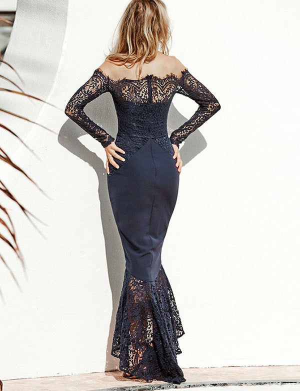 Mermaid Off the Shoulder Long Sleeves Navy Blue Bridesmaid Dress with Lace - ericprom