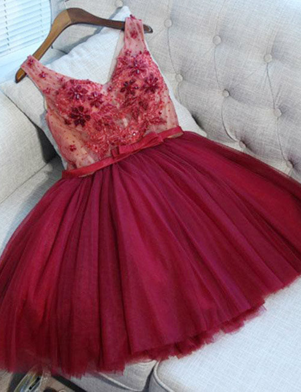 Cute V-Neck Beaded Burgundy Short Homecoming Dress with Lace Appliques - ericprom