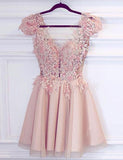 V-Neck Cap Sleeves Short Homecoming Dress Pink Cocktail Dress with Appliques - ericprom