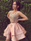 A-Line Round Neck Short Pink Satin Homecoming Dress with Appliques - ericprom