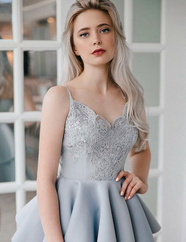 A-Line Spaghetti Straps Mini Gray Satin Homecoming Dress with Appliques - ericprom