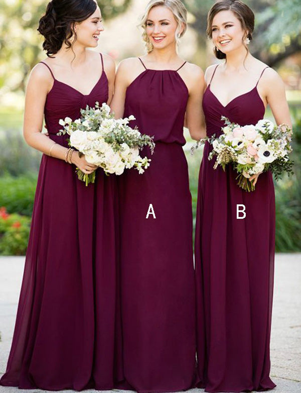 Mismatched Spaghetti Straps Floor Length Chiffon Burgundy Bridesmaid Dress - ericprom
