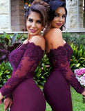 Mermaid Off the Shoulder Sweep Train Burgundy Bridesmaid Dress with Lace Beading - ericprom