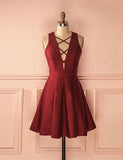 Simple Deep V Neck Cocktail Dress Sleeveless A Line Burgundy Homecoming Dress - ericprom