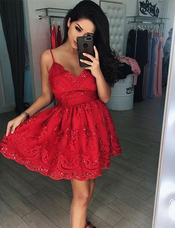 Spaghetti Straps Short Homecoming Dress with Lace Beading Red Cocktail Dress - ericprom