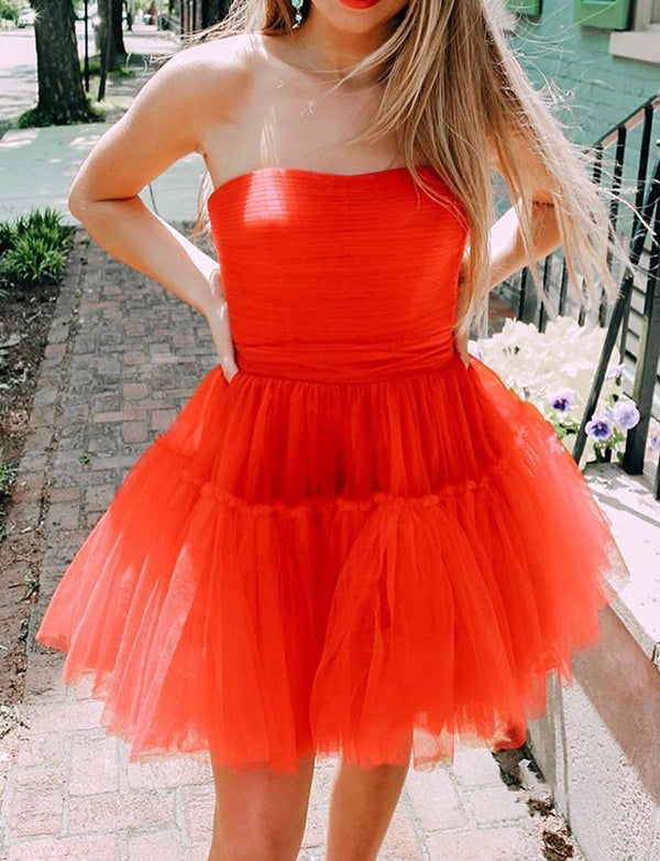 A-line Red Homecoming Tulle Dress