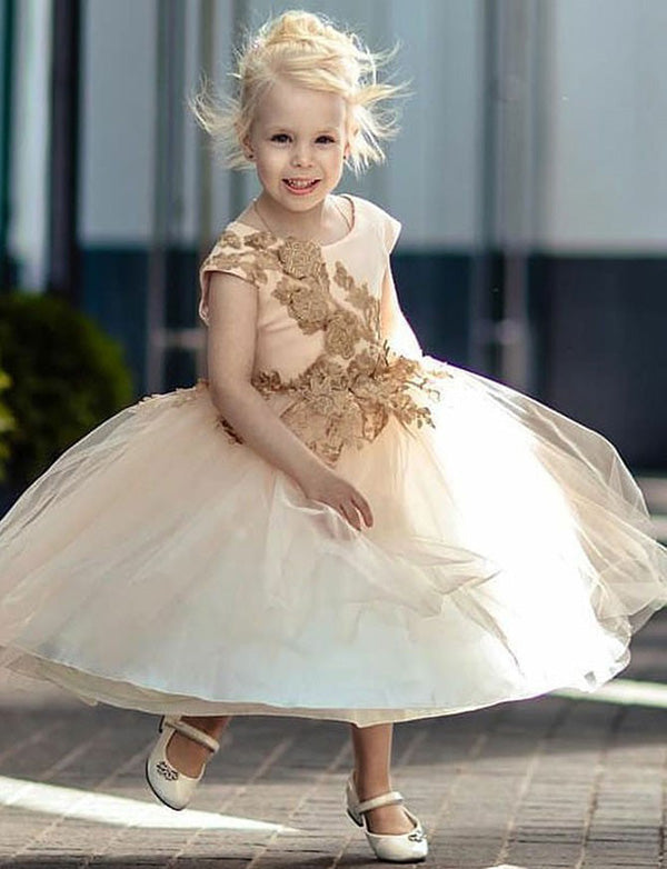 A Line Jewel Mid Calf Champagne Tulle Flower Girl Dress with Appliques - ericprom