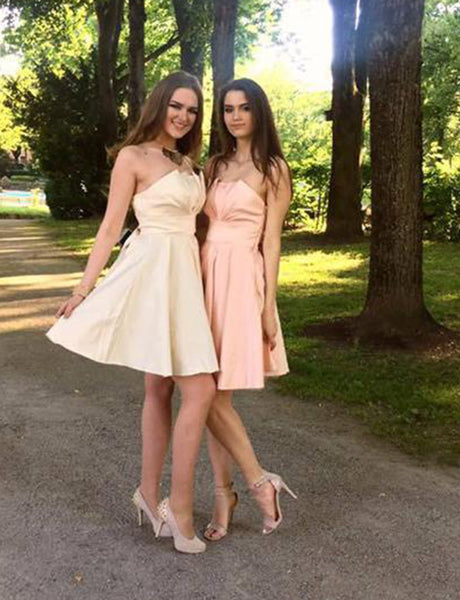 Strapless Short Ivory Cocktail Dress Satin Pink Homecoming Dress with Bowknot