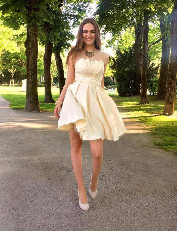 Strapless Short Ivory Cocktail Dress Satin Pink Homecoming Dress with Bowknot - ericprom