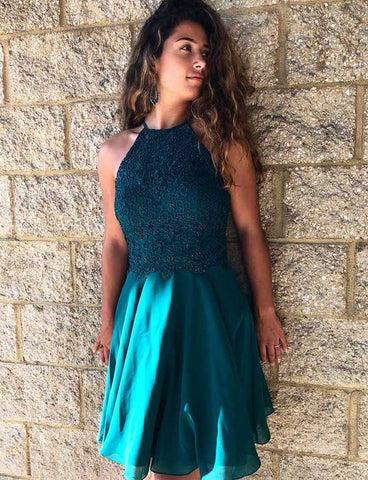 Halter Cocktail Dress Short Turquoise Homecoming Dress with Appliques